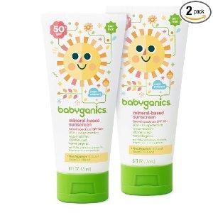 $7.35 + Free ShippingBabyganics Mineral-Based Baby Sunscreen Lotion, SPF 50, 6oz Tube (Pack of 2)