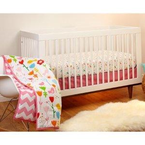 Pinwheel by Little Bedding by Nojo Reversible Sweet Tweet/Pink Chevron Print 3-Piece Crib Bedding Set