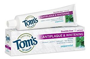 $3.37 Tom's of Maine Natural Fluoride Free Antiplaque and Whitening Toothpaste, Peppermint, 5.5 Ounce