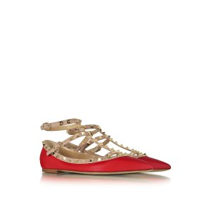 Valentino Rockstud Red and Powder Pink Leather Ballerina 36 (6 US | 3 UK | 36 EU) at FORZIERI