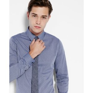 fitted geo micro print dress shirt