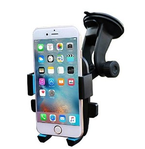 JIATAI C6 Car Mount Holder Cradle on Windshield 360 Degrees Rotation Freely Adjustable for Universal Phone (Black/Blue)