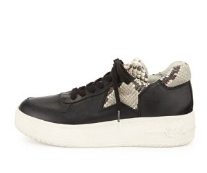 $80.55(原价$215) 价格新低,码全!Ash Fool 女士黑色蛇皮纹拼接厚底运动鞋