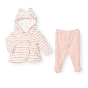 Koala Baby Girls 2 Piece Pink Striped Jacket and Footed Pant Set - Babies R Us - Babies