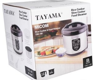 Tayama TRC-80 8-Cup/3 quart MICOM Digital Rice Cooker and Food Steamer, Black
