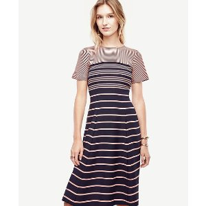 Ombre Stripe Flare Dress | Ann Taylor