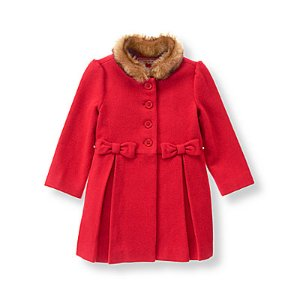Baby Girl Crimson Bow Wool Blend Coat at JanieandJack