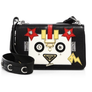 Prada Glace Leather Robot Crossbody Bag