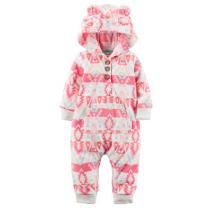 Baby Girl Hooded Fleece Jumpsuit | Carters.com