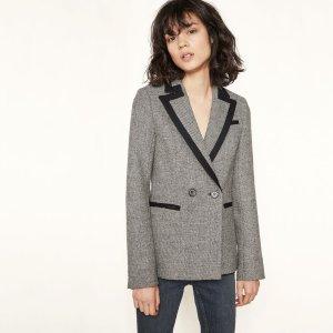 VASSI Wool blazer with contrasting trim