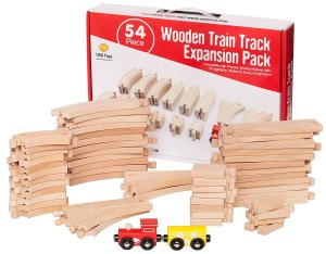 $22.95 Deluxe Wood Train Tracks Set for Kids - 54 Piece
