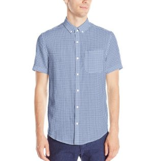 Original Penguin Men's Short Sleeve Linen Gingham Button Down Shirt