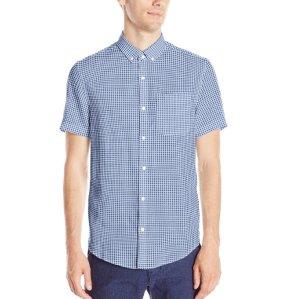 Original Penguin Men's Short Sleeve Linen Gingham Button Down Shirt