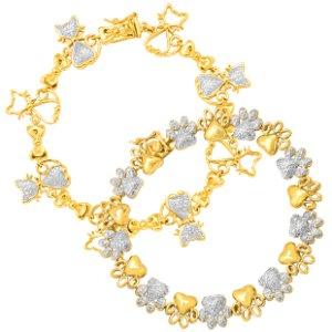 $24 Each Paw & Cat Link Bracelet with Diamond