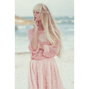 Wildfox Couture Shell Baby Roadie Sweater in Baby Pink