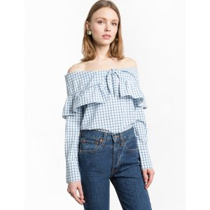 Check Off The Shoulder Bow Tie Top