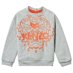 Kenzo Kids Grey Marl and Orange Large Tiger Print Sweatshirt