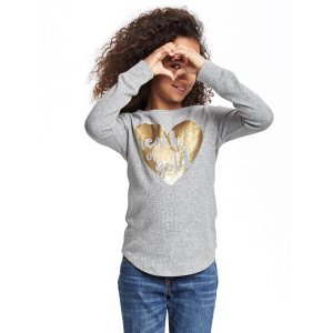 Long & Lean Thermal Crew-Neck Tee for Girls | Old Navy
