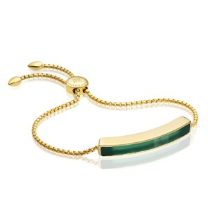 Baja Bracelet in 18ct Gold Vermeil on Sterling Silver with Green Onyx | Jewellery by Monica Vinader