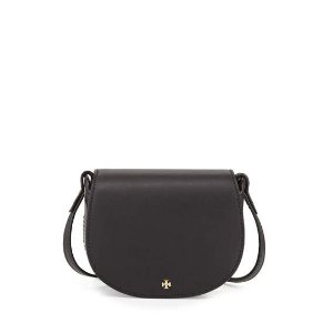 Tory Burch Mini Leather Saddle Bag, Black