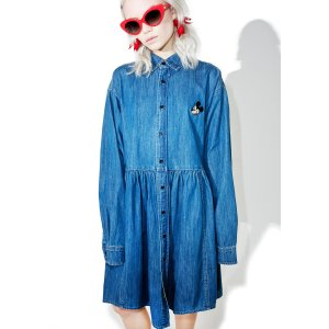 Lazy Oaf X Disney Mickey Mouse Loose Denim Dress | Dolls Kill