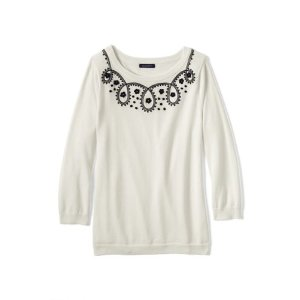 Women's Supima 3/4 Sleeve Soutache Sweater from Lands' End