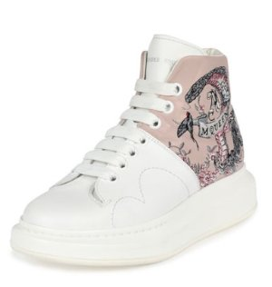 Alexander McQueen Embroidered Leather High-Top Sneaker, White/Pink @ Neiman Marcus