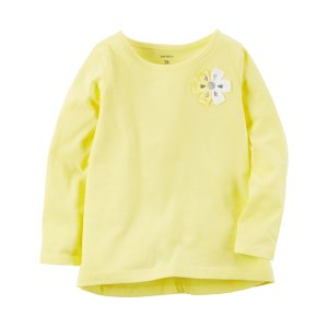 Baby Girl Long-Sleeve Floral Embellished Tee   Carters.com