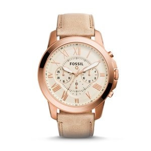 Q Grant Chronograph Sand Leather Smartwatch - Fossil