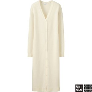 WOMEN U CASHMERE BLEND V-NECK LONG CARDIGAN