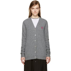McQ Alexander Mcqueen: Grey Embroidered Swallow Cardigan |