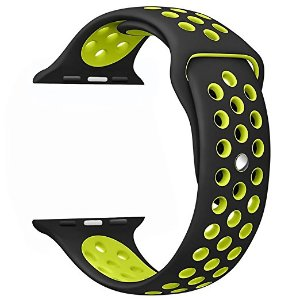 Amazon.com: OULUOQI Apple Watch Band 42mm, Soft Silicone Replacement Wrist Strap for Apple Watch Series 2, Series 1, Nike+, M/L Size ( Black / Volt Yellow ): Cell Phones & Accessories