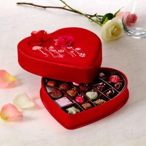 Valentine's Day Satin Embroidered Heart Chocolate Gift Box, 25 pc. | GODIVA