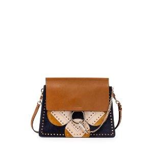 Chloe Faye Medium Flower Python Patchwork Shoulder Bag, Brown/Multi