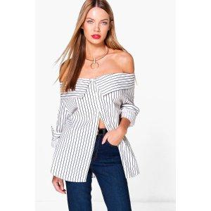 Charlotte Striped Bardot Shirt