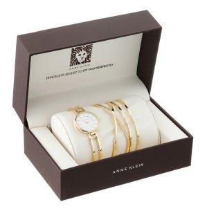$69.06 Anne Klein Women's AK/2236GBST Swarovski Crystal-Accented Gold-Tone Open-Bangle Watch and Bracelet Set