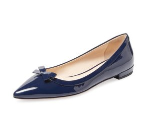 $399(reg.$650) Prada Patent Leather Pointed-Toe Bow Flat