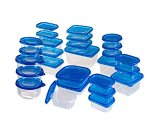 54 Piece Plastic Food Container Set With Air Tight Lids, Blue/Clear | Staples®