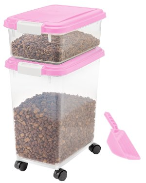 $17.99 IRIS 3-Piece Airtight Pet Food Container Combo, pink