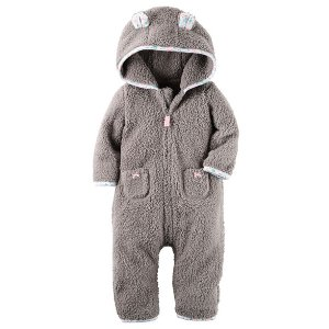 Baby Girl Hooded Sherpa Jumpsuit | Carters.com