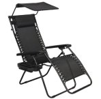 $49.95 Folding Zero Gravity Recliner Lounge Chair With Canopy Shade & Magazine Cup Holder