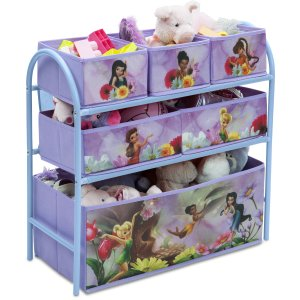 $14.99 Disney Fairies Metal Multi-Bin Toy Organizer, Lavender