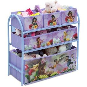 $14.99 Disney Fairies Metal Multi-Bin Toy Organizer, Lavender