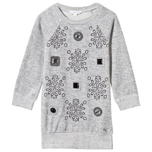 Little Marc Jacobs Grey Jewelled and Embroidered Velour Dress | AlexandAlexa
