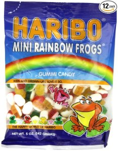 Haribo Gummi Candy, Mini Rainbow Frogs, 5 -Ounce Bags (Pack of 12)