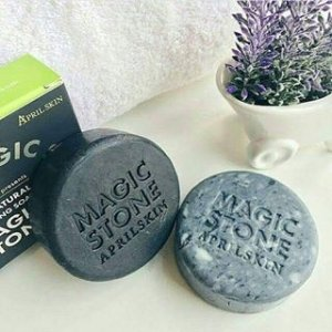 $11.25 April Skin Magic Stone Natural Cleansing Soap + Charcoal Soap Korea Beauty (2PCS)