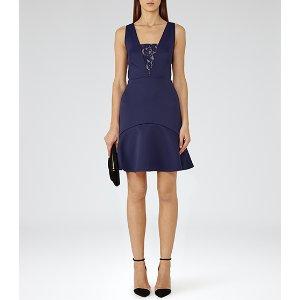 Hudson Indigo Lace-insert Dress - REISS