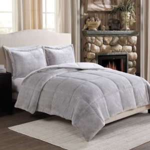 Frosted Fur Reversible Full/Queen Comforter Set in Brown