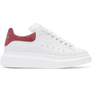 Alexander McQueen: White & Pink Suede Tab Sneakers