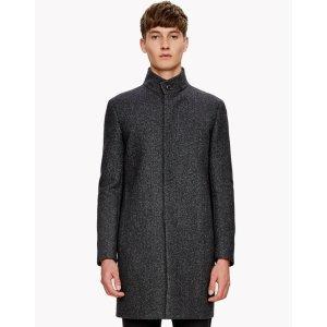 Wool Melton Textured Stand Collar Coat